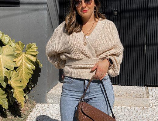 look bolsa baguete, look bolsa baguete c&a, look tricot zara, look tricot, tricot, tricot nude, tricot off white, tricot zara, look calça jeans, look jeans, mule dourado, bolsa baguete