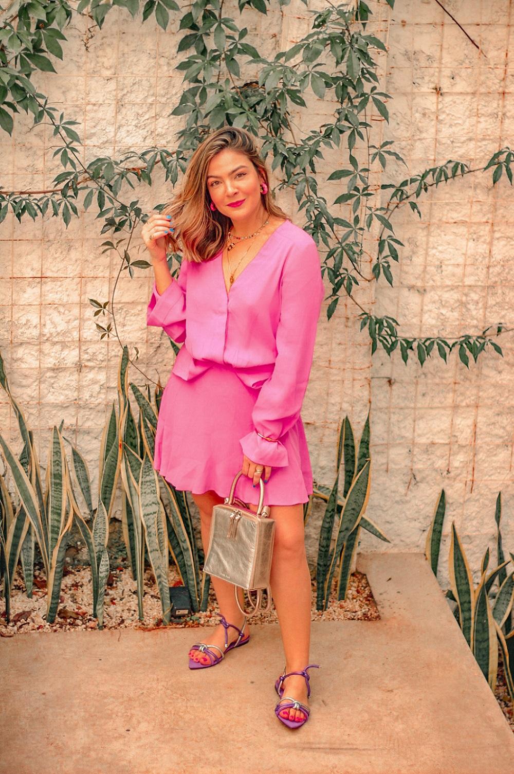Look Rosa Com Roxo, look vestido rosa, look vestido rosa sapato roxo, look vestido rosa sandalia roxa, rosa com roxo, look vestido animal, vestido animale, animale, vestido rosa animale, look vestido rosa animale, look vicenza, vicenza, look sandalia vicenza, look sandália roxa vicenza